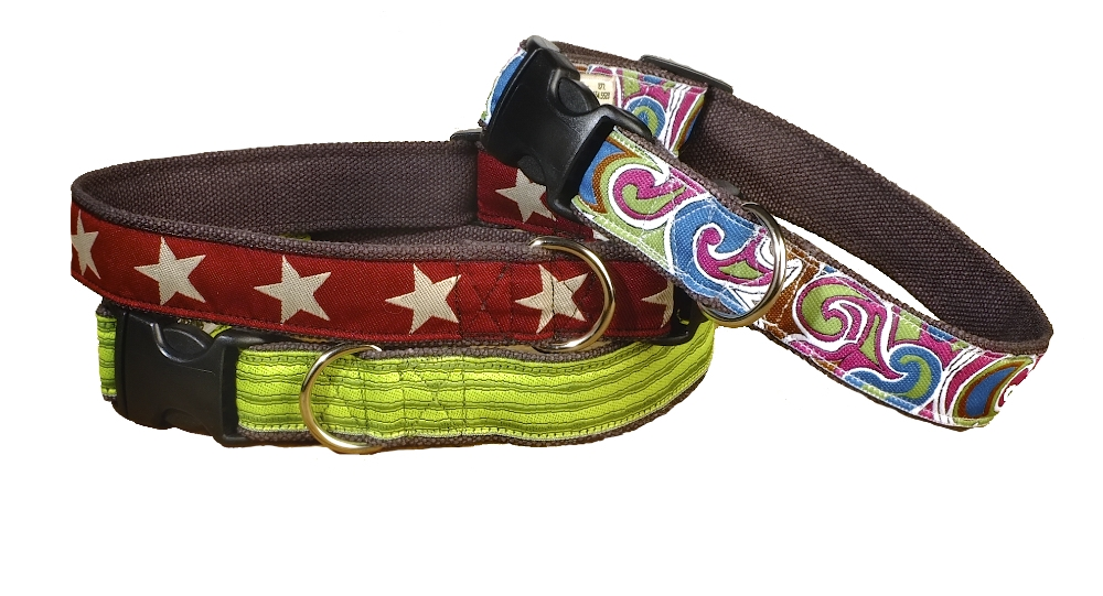 three earthdog hemp adjustable collars in dietrich kody 2 and flanagan styles
