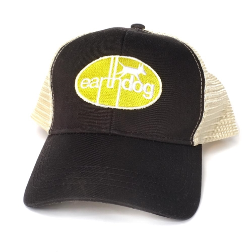 earthdog eco friendly trucker hat with embroidered logo patch