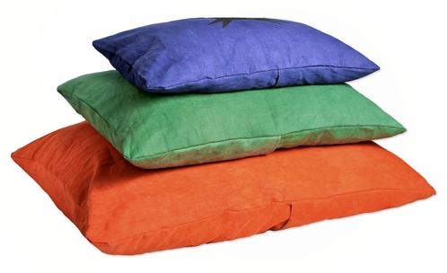 stack of earthdog natural hypoallergenic dog beds in 3 sizes