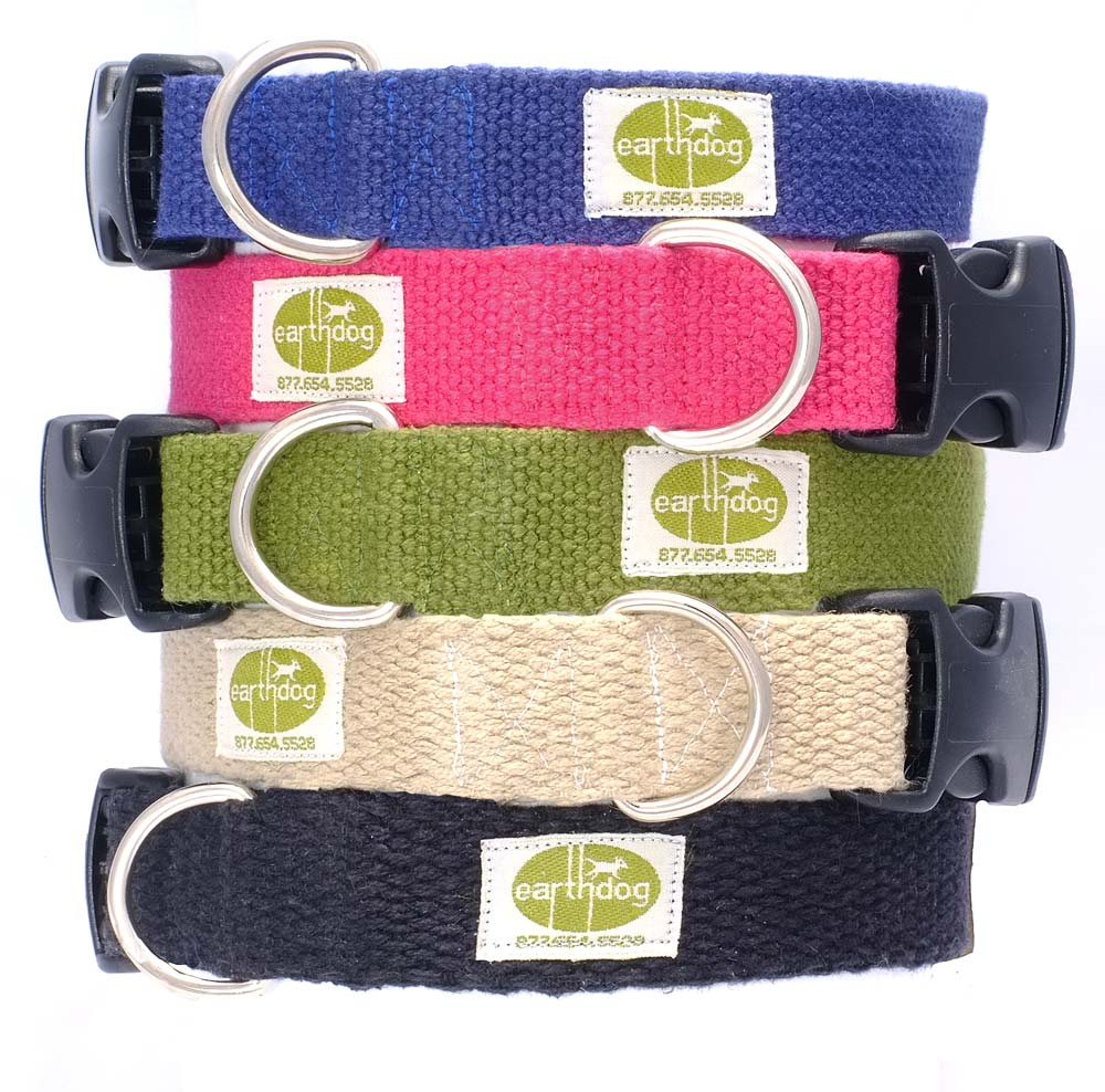 earthdog natural hypoallergenic adjustable hemp dog collars in 6 colors