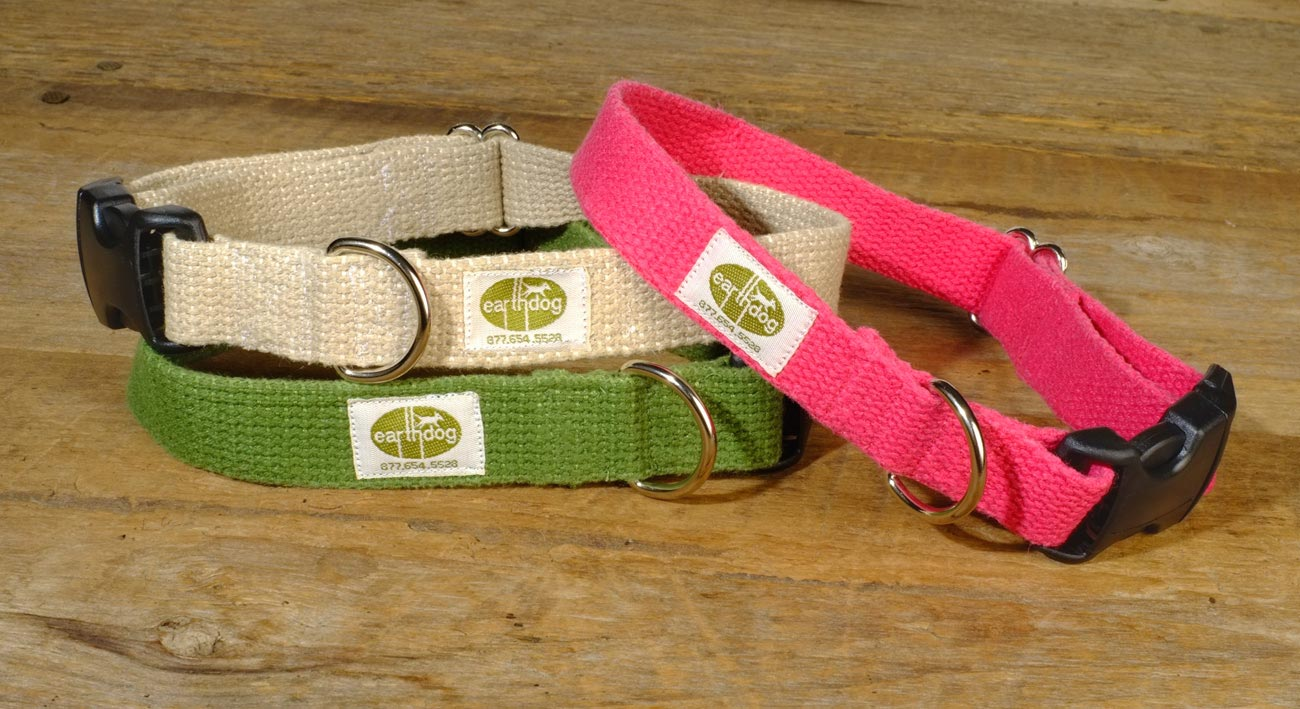 earthdog hypoallergenic solid hemp dog collars in natural, leaf green and fuchsia