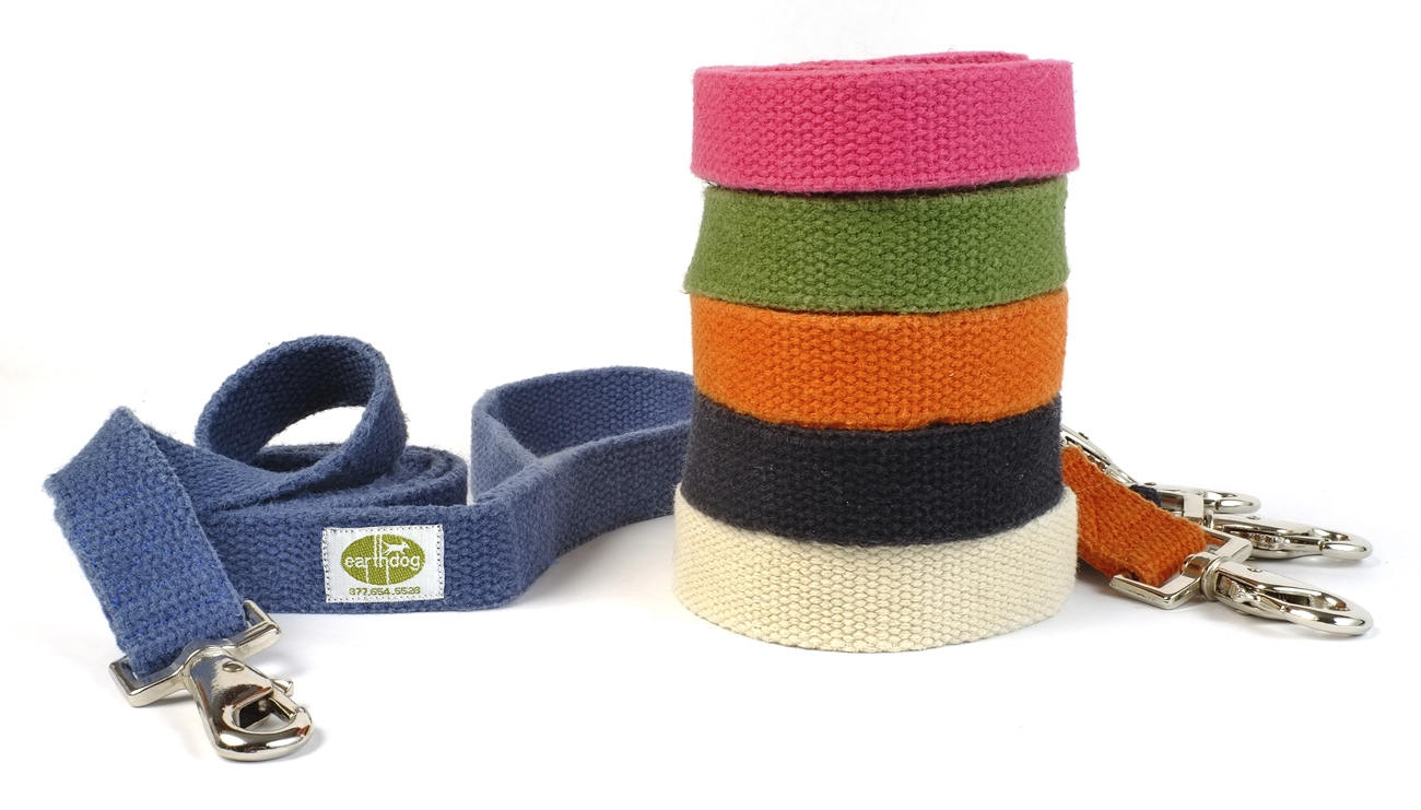 earthdog solid hypoallergenic hemp dog leashes in 6 colors