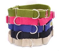 earthdog hypoallergenic solid martingale hemp dog collars in tangerine, fuchsia and blueberry