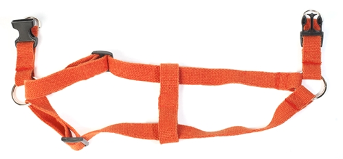 earthdog natural hypoallergenic hemp solid harness in tangerine open
