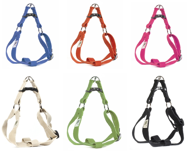 earthdog eco friendly hemp step in harnesses in six colors ash blueberry fuschia tangerine leaf and natural