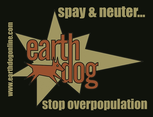 earthdog spay neuter sticker in vintage logo style
